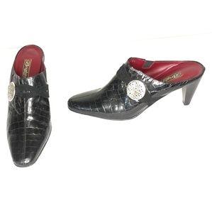 Brighton Romeo Black Patent Leather Mules